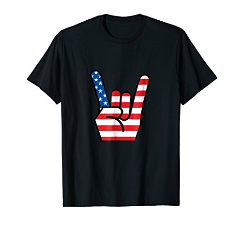 USA Hook em Horns Hand Sign Shirt Rock and ()