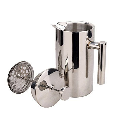 Double Walled Insulated Coffee /& Tea Maker, Miuly Stainless Steel French Press With Walnut Handle Bonus with 2 Extra Filter Screens YY-CT-0028 34oz//1L, 8 cup