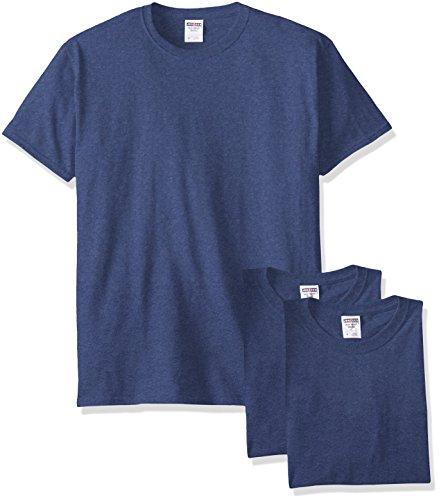 Jerzees Men's Black Heather Adult Short Sleeve Tee 3 Pack, Vintage Blue, Large Adult Short Sleeve Heather