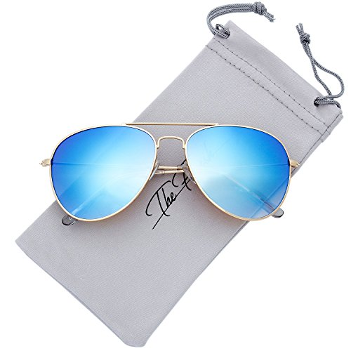 The Fresh Classic Large Metal Frame Gradient Mirror Lens Aviator Sunglasses with Gift Box (Gold, Gradient Sky Blue)