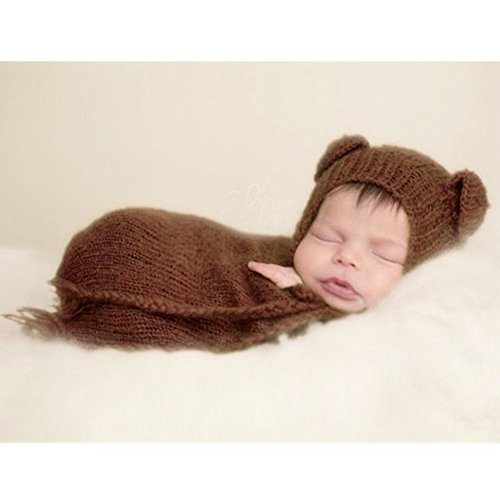 Fashion Newborn Boy Girl Baby Costume Knitted Photography Props Hat Sleeping Bag -