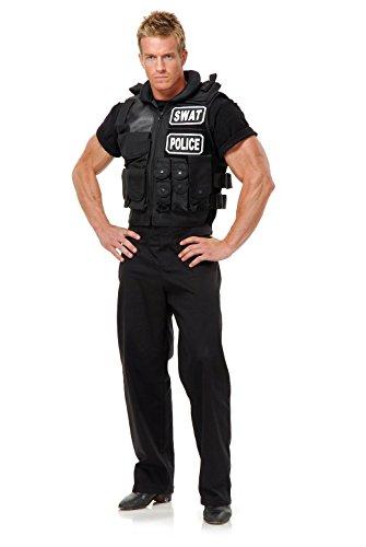 Swat Team Vest Adult Costume, One Size, Black (Adult Swat Costumes)