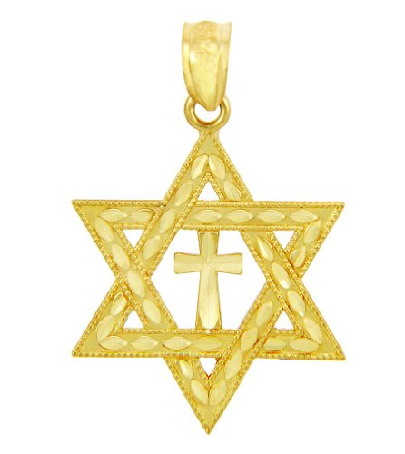 Jewish Gold Pendants - 10k Yellow Gold Jewish Charm Star Cross of David Pendant