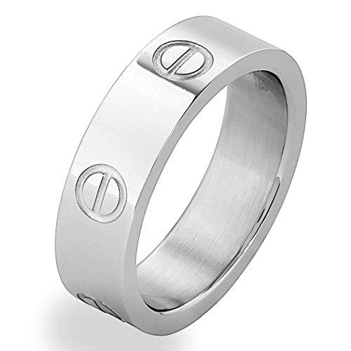 Price comparison product image Designer Inspired Silver Titanium Steel Screw Love Ring (11)
