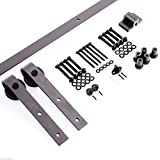 HOMCOM CARBON STEEL Wood Barn Door Hardware Kit Sliding Track Set Track System (6.6ft J Shape Roller)