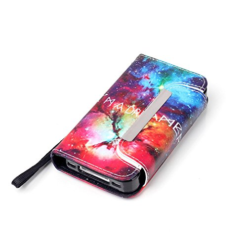 MOONCASE iPhone 4 Case PU Leder Wallet Tasche Flip Etui Case Cover 2 in 1 abnehmbarer weicher TPU Innen Schale für iPhone 4 4S -FT12