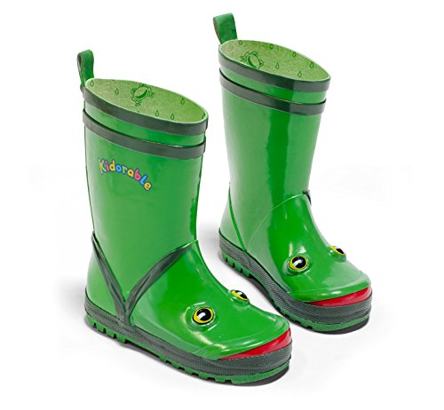 Kidorable Green (Kidorable Green Frog Natural Rubber Rain Boots With A Pull On Heel Tab (Little Kid) 12 M US)