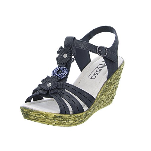 Alyssa Damen Sandalette 2030-20 Keilabsatz Plateau Klettverschluss Schwarz