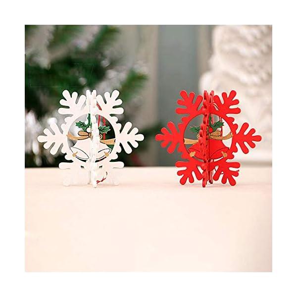 Bogoro 9 Pezzi Decorazioni Natalizie in Legno Albero di Natale Appeso Ornamento Decorazione Natalizia per Albero di Natale Babbo Natale e Snowman Ciondolo di Natale Fai da Te Ciondoli Legno Decorato 3 spesavip