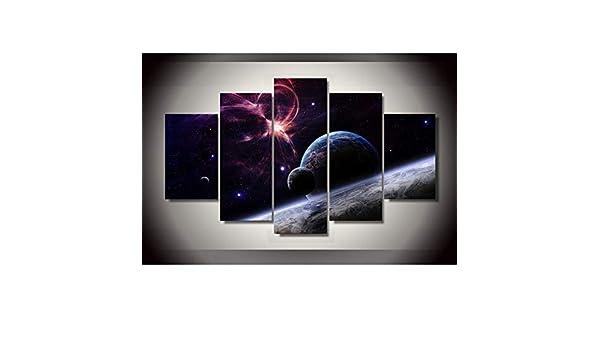 mmwin Arte de la Pared Imagen en HD Modular Decoración para el hogar Pósters Planetas de 5 Paneles Paisaje Sala de Estar Impreso Moderno En Lienzo Fram: Amazon.es: Hogar