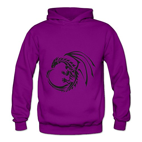 Lennakay Work Adult's Dragon Tattoo Hooded With No Pocket Purple For Woman SizeL
