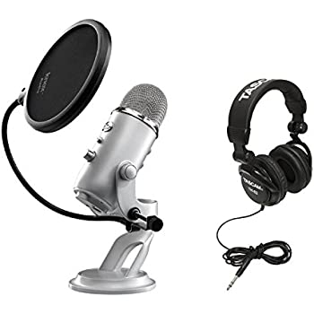 Blue Microphones Yeti USB Multi-Pattern Microphone with Full Size Studio Headphones and Knox Pop Filter