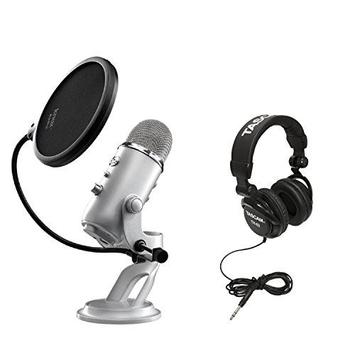 Blue Microphones Yeti USB Multi-Pattern Microphone with Full Size Studio Headphones and Knox Pop Filter by Blue Microphones