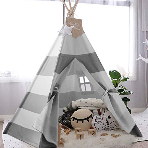 UKadou Kids-Teepee-Tent-for-Kids-Teepee-Playhouse for Boys and Girls Children's Canvas Baby Tent tpee 6ft Grey Stripe Tepees Toddler Tent with Floor &Carry case(Upgrade )]()