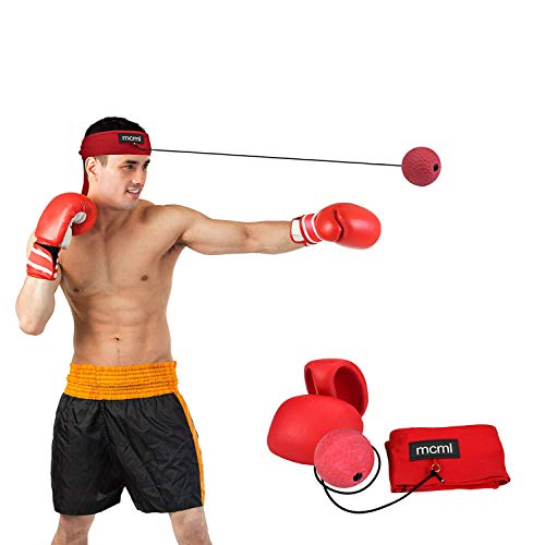 OUTFANDIA Boxing Reflex Ball Head Cap Punch Gloves 3pcs Boxing Gear Combo Gym Equipment Set - Fitness Accessories for Reflex Speed Training