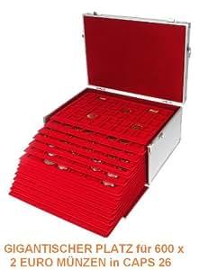 SAFEPRINT maletín para monedas aluminio Gigant–Monedas de Euro de 2–NR. 273–190R–Monedas de 2euros en Caps 26–Plata Stripes Edition con 15rojas, para hasta 600x monedas de 2euros en cápsulas de monedas–Mundo neuheut–El gigante de los portamaletas....