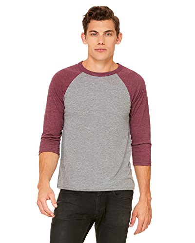 Bella Wholesale (Bella + Canvas Unisex 3/4-Sleeve Baseball T-Shirt>M GRY/MAROON TRBLN 3200)