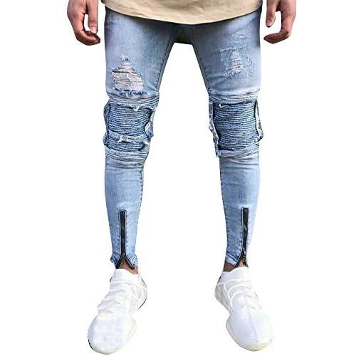 97a66cd9c5b18 Hombre Elásticos Cómodos Jeans Slim Fit Denim vaqueros Destruido Rotos  Tapered Tejanos Pantalón Venta ...