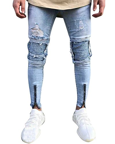 Hombre Elásticos Cómodos Jeans Slim Fit Denim vaqueros Destruido Rotos Tapered Tejanos Pantalón 47azul