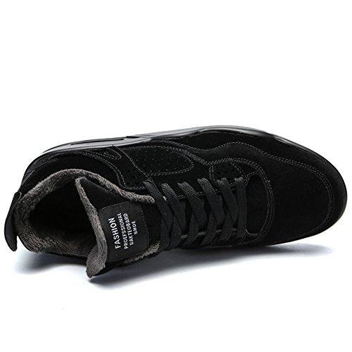 Männer Straße Laufschuhe Leichte Luftpolster Trail Running Sportschuhe Outdoor Fashion Sneakers Schuh Schwarz (mit Pelz)