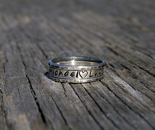 (Personalized Stacker Set of 3 Textured Hammered Sterling Silver Rings - Stacker - Stacking - Stack ring - Custom - Customized - Name Jewelry)