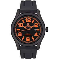 Swiss Mountaineer Mens Watch Black Silicone Rubber Band Easy Read Dial Orange Numerals Date Reloj SM8041