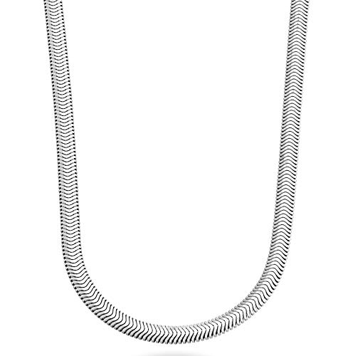 24 Inch Herringbone Chain Necklace - MiaBella 925 Sterling Silver Italian 4mm Solid Diamond-Cut Snake Herringbone Chain Link Necklace for Women Men 16, 18, 20, 22, 24 Inch Made in Italy (20)