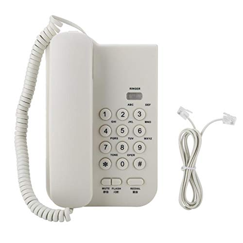 PrinceShop - Corded No Display Telephone Phone Telephones Redial/Flash Wall Mountable for Home Office White With Mute Function from PrinceShop