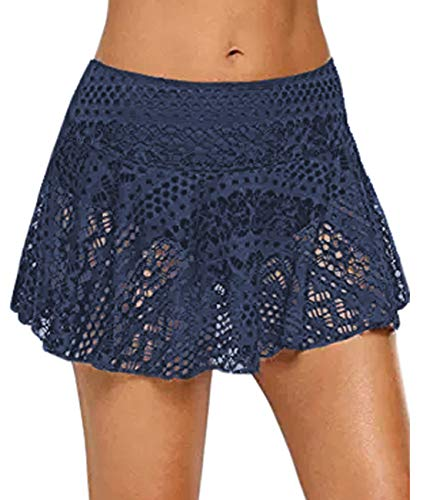 Urchics Womens Lace Hollow Out Swimsuit Tankini Bottom Swim Board Shorts Blue Skirt M ()