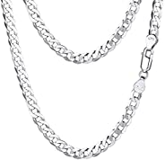 925 Sterling Silver Italian Figaro/Cuban Link Curb Chain Necklace Men Women Kids 2.8mm/5mm Chain Layering Neck