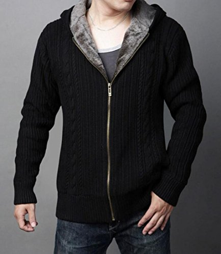 Coat amp;W Men's amp;S Fur Hoodie Black Jacket Sweatshirt M Hooded Fleece Thick Rgpxqw