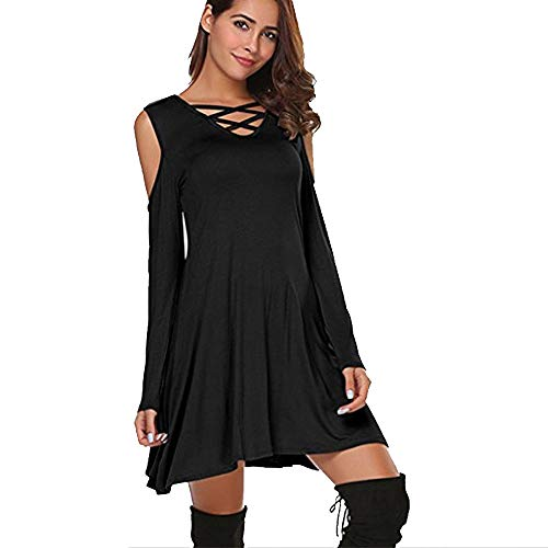 Big Promotion Caopixx Dresses for Women's Nightclub Long Sleeve Sexy Cold Shoulder Flared Maxi Party Dress