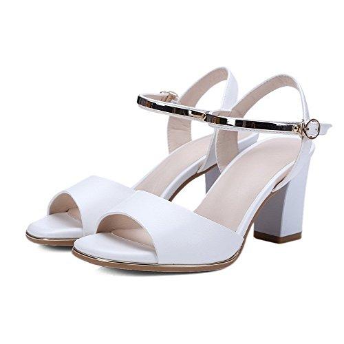 AllhqFashion Women's Buckle High-Heels PU Solid Open Toe Sandals White OWSdefIddF