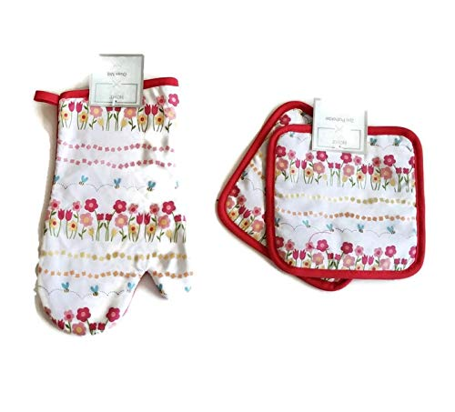 Summer Time Flowers and bee's 3 Piece Linen Bundle Package Oven Mitt (1) Pot Holders (2)