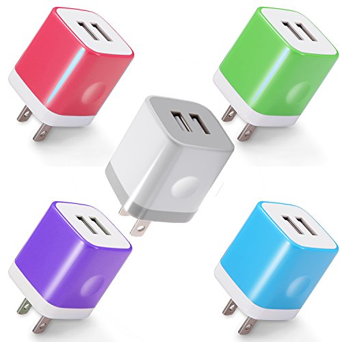 Power-7 USB Wall Charger, 5-Pack 2.1A Dual Port USB Charger Plug Power Adapter Charging Block Cube for iPhone X 8 7 6 Plus 5S, iPad, Samsung Galaxy S8 S7 S6 Edge, LG, ZTE, Moto, HTC, Android Phone