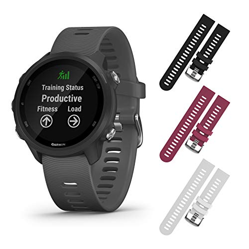 Garmin Forerunner 245 GPS Running Smartwatch with Included Wearable4U 3 Straps Bundle (Slate Grey 010-02120-00, Black/Berry/White)