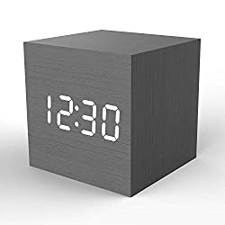 Wooden Digital Alarm Clock Cube Little Clock, Topacom LED Table Clock USB/Battery Powered for Heavy Sleepers, Kids, Bedrooms with Adjustable Brightness Voice Control, Black