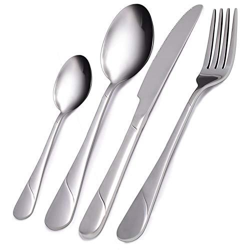 VKEEW Flatware Set, 24-Piece Silverware Set Service for 6 Stainless Steel Cutlery Set for Home Kitchen Hotel Restaurant…