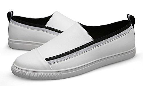 Tda Mens Slip-on Sintetico Traspirante Comfort Penny Mocassini Guida Scarpe Da Passeggio Bianco