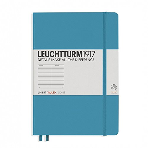 Leuchtturm 1917 Medium Size Hardcover A5 Notebook, Ruled Pages, Nordic Blue