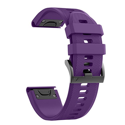 ANCOOL Compatible with Fenix 5 Band Easy Fit 22mm Width Soft Silicone Watch Strap Replacement for Garmin Fenix 5/Fenix 5 Plus/Forerunner 935/Approach S60/Quatix 5 - Purple