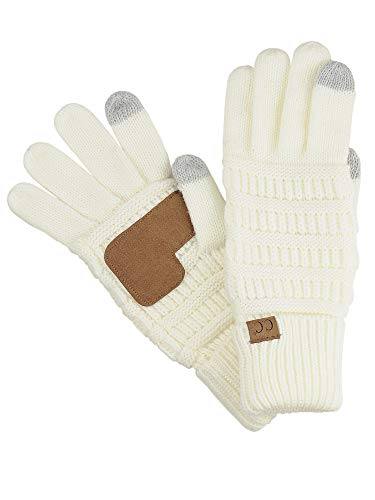 C.C Unisex Cable Knit Inner Lined Anti-Slip Touchscreen Texting Gloves, Ivory