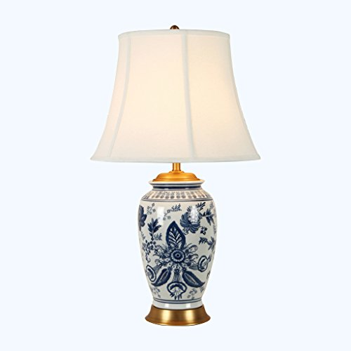 ALUS- Chinese Ceramic Table Lamp Hand-Painted Blue and White Porcelain Surface is Suitable for All Bedrooms and Living ()