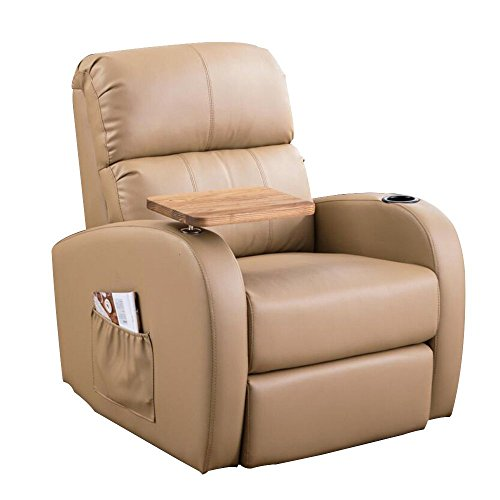 SogesHome 360 Degree Swivel Rocking Recliner Chair Lounge Sofa Living Room Chair ,Beige,sh-535-BG-S (Ship Chair Wooden Rocking)