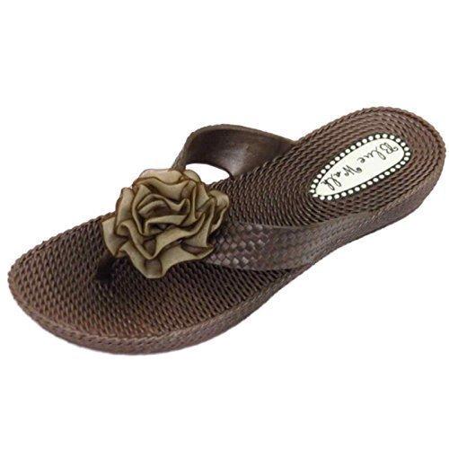 Damen Flach Braun Zehensteg Sandalen Flip Flop Strand Zum Reinschlüpfen Blumenschuhe UK 3-8