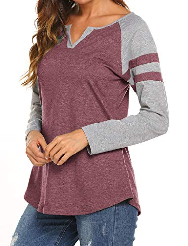Locryz Women's Stripe Colorblock Raglan Sleeve Long T-Shirt Tunics Tops XXL Wine Red