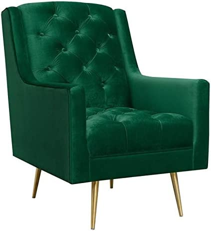BOWERY HILL Button Tufted Velvet Fabric Accent Chair Review