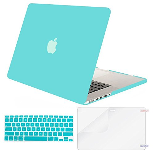 MOSISO Case Only Compatible with Older Version MacBook Pro Retina 13 inch (Models: A1502 & A1425) (Release 2015 - end 2012), Plastic Hard Shell & Keyboard Cover & Screen Protector, Turquoise