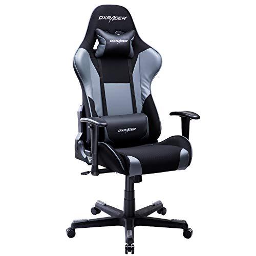 DXRacer USA Formula Series OH/FD101/NG Gaming Chair Computer Chair Office Chair Ergonomic Design Swivel Tilt Recline Adjustable with Tilt Lock, Includes Headrest Pillow and Lumbar Cushion (Gray)
