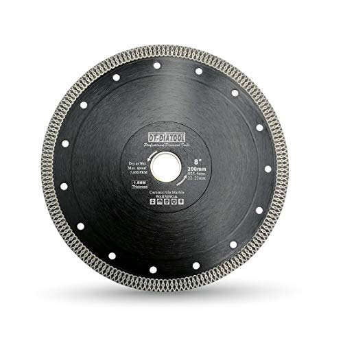 (DT-DIATOOL Turbo Mesh Diamond Blade 8 inch with X Rim Segment Cutting Tile)